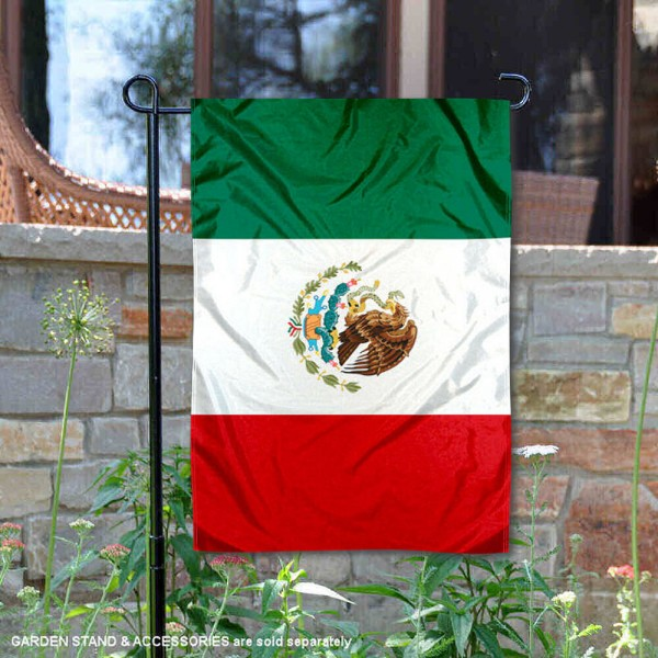 Mexico Double Sided Garden Flag is 13x18 inches in size, is made of 2-layer polyester, screen printed logos and lettering, and is viewable on both sides. Available same day shipping, our Mexico Double Sided Garden Flag is a great addition to your decorative garden flag selections.