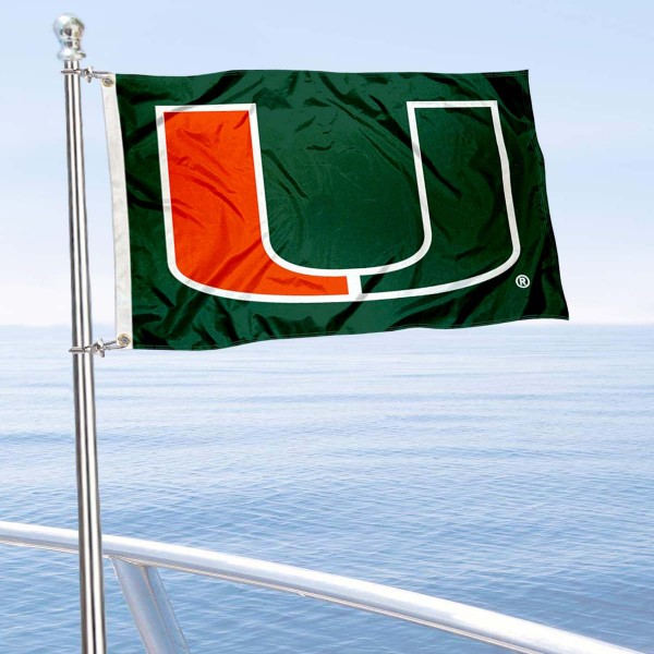 Miami Canes Green Boat Flag is 12x18 inches, nylon, offers quadruple stitched flyends for durability, has two metal grommets, and is double sided. Our mini flags for Miami Canes are licensed by the university and NCAA and can be used as a boat flag, motorcycle flag, golf cart flag, or ATV flag.