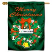 Miami Canes Happy Holidays Banner Flag