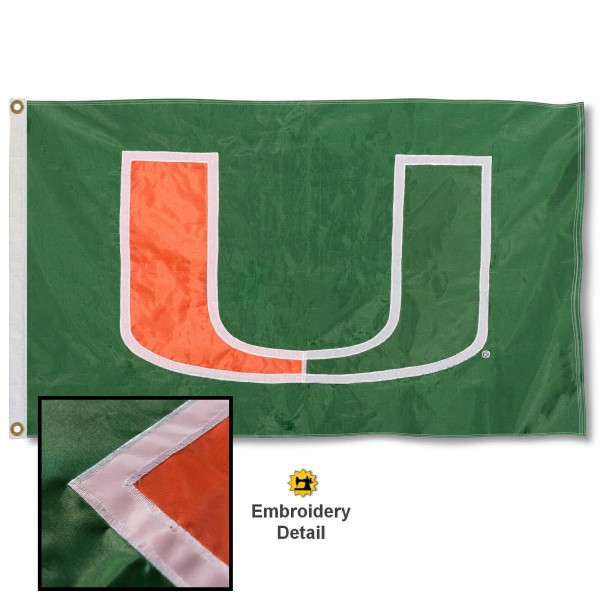 Miami Canes Nylon Embroidered Flag measures 3'x5', is made of 100% nylon, has quadruple flyends, two metal grommets, and has double sided appliqued and embroidered University logos. These Miami Canes 3x5 Flags are officially licensed by the selected university and the NCAA.