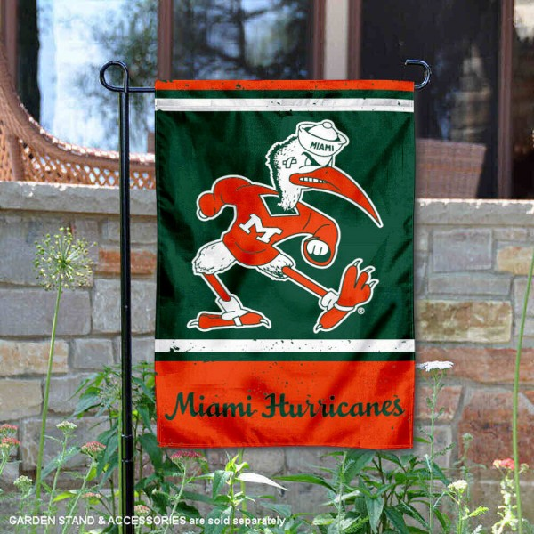 Miami Canes Vintage Vault Garden Flag is 12x18 inches in size, is made of 1-layer polyester, screen printed logos and lettering, and is viewable on both sides. Available same day shipping, our Miami Canes Vintage Vault Garden Flag is officially licensed and approved by the university and the NCAA.