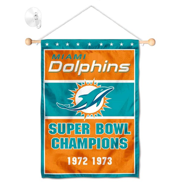 "Miami Dolphins 2 Time Champions Window and Wall Banner kit includes our 12.5""x18"" garden banner which is made of 2 ply poly with liner and has screen printed licensed logos. Also, a 17"" wide banner pole with suction cup is included so your Miami Dolphins 2 Time Champions Window and Wall Banner is ready to be displayed with no tools needed for setup. Fast Overnight Shipping is offered and the flag is Officially Licensed and Approved by the selected team."