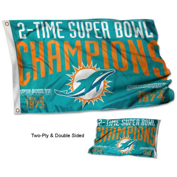 Miami Dolphins 2 Time Super Bowl Champions Flag measures 3'x5', is made of 2-ply double sided polyester with liner, has quadruple stitched sewing, two metal grommets, and has two sided team logos. Our Miami Dolphins 2 Time Super Bowl Champions Flag is officially licensed by the selected team and the NFL and is available with overnight express shipping.