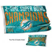 Miami Dolphins 2 Time Super Bowl Champions Flag
