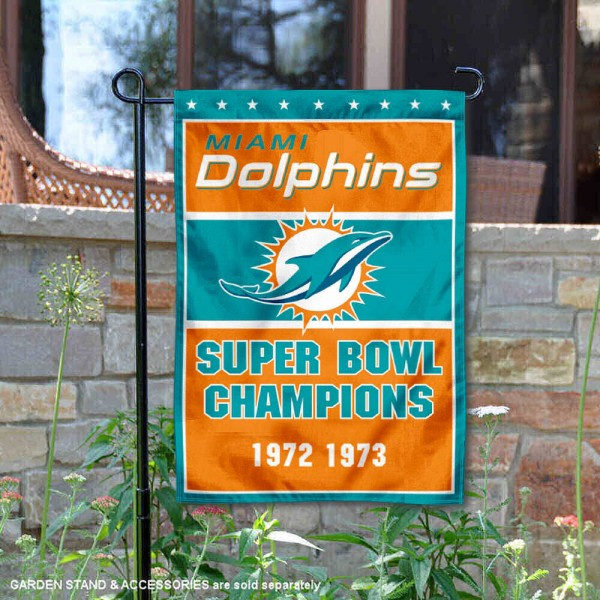 Miami Dolphins 2 Time Super Bowl Champs Garden Flag is 12.5x18 inches in size, is made of 2-ply polyester, and has two sided screen printed logos and lettering. Available with Express Next Day Ship, our Miami Dolphins 2 Time Super Bowl Champs Garden Flag is NFL Officially Licensed and is double sided.