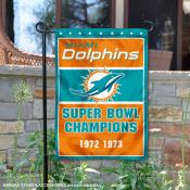 Miami Dolphins 2 Time Super Bowl Champs Garden Flag