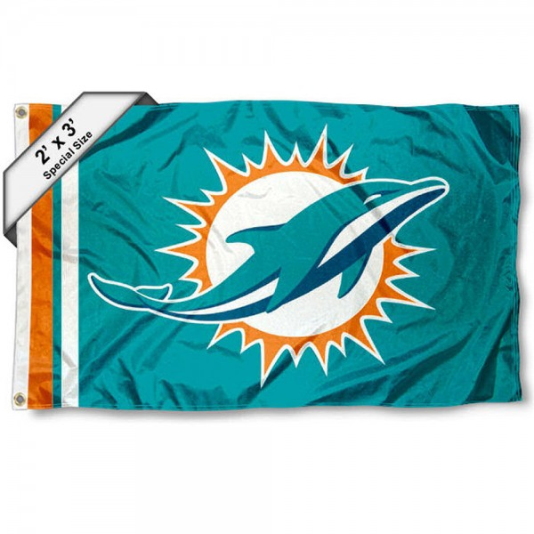 Miami Dolphins 2x3 Feet Flag measures 2'x3', is made polyester, has quadruple stitched flyends, two metal grommets, and offers screen printed NFL Miami Dolphins logos and insignias. Our Miami Dolphins 2x3 Foot Flag is NFL Officially Licensed and approved.