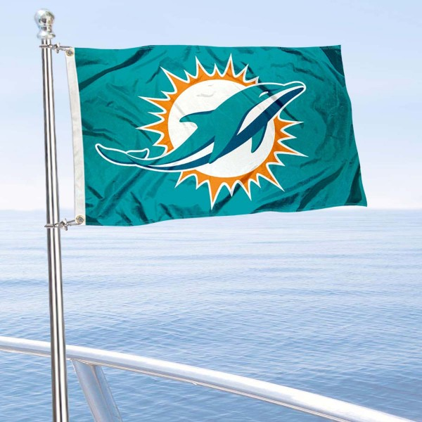 "Our Miami Dolphins Boat and Nautical Flag is 12""x18"", made of three-ply poly, has a solid header with two metal grommets, and is double sided. This Boat and Nautical Flag for Miami Dolphins is Officially Licensed by the NFL and can also be used as a motorcycle flag, boat flag, golf cart flag, or recreational flag."