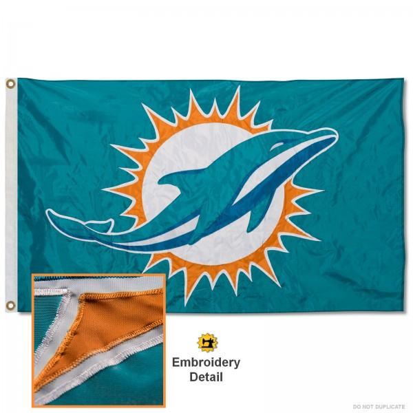 This Miami Dolphins Embroidered Nylon Flag is double sided, made of nylon, 3'x5', has two metal grommets, indoor or outdoor, and four-stitched fly ends. These Miami Dolphins Embroidered Nylon Flags are Officially Approved the Miami Dolphins and NFL.