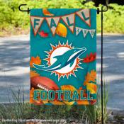 Miami Dolphins Fall Football Leaves Decorative Double Sided Garden Flag