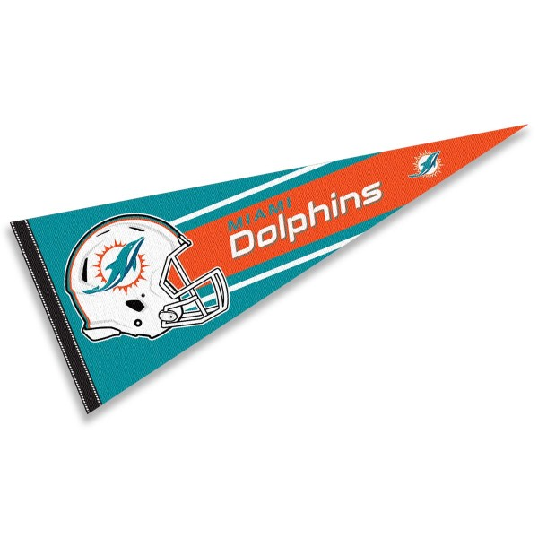 This Miami Dolphins Football Pennant measures 12x30 inches, is constructed of felt, and is single sided screen printed with the Miami Dolphins logo and helmets. This Miami Dolphins Football Pennant is a NFL Officially Licensed product.