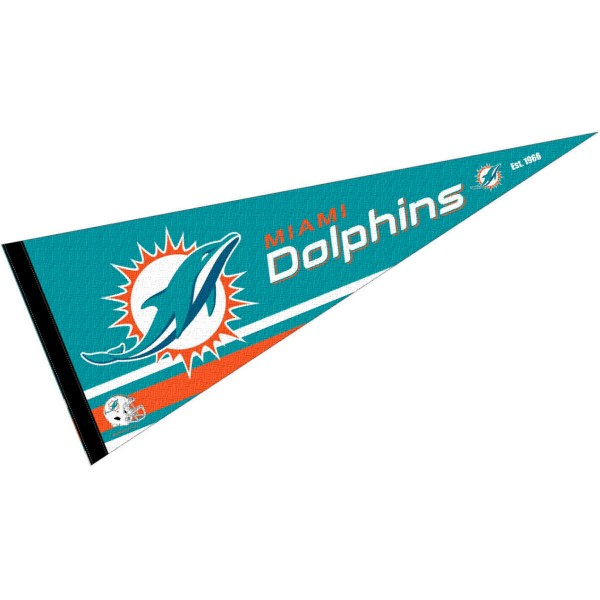 This Miami Dolphins Full Size Pennant is 12x30 inches, is made of premium felt blends, has a pennant stick sleeve, and the team logos are single sided screen printed. Our Miami Dolphins Full Size Pennant is NFL Officially Licensed.