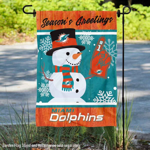 Miami Dolphins Holiday Winter Snow Double Sided Garden Flag is 12.5x18 inches in size, is made of 2-ply polyester, and has two sided screen printed logos and lettering. Available with Express Next Day Ship, our Miami Dolphins Holiday Winter Snow Double Sided Garden Flag is NFL Officially Licensed and is double sided.