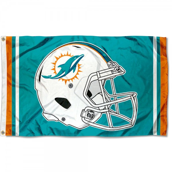 Our Miami Dolphins New Helmet Flag is two sided, made of poly, 3'x5', Overnight Shipping, has two metal grommets, indoor or outdoor, and four-stitched fly ends. These Miami Dolphins New Helmet Flags are Officially Approved by the Miami Dolphins.