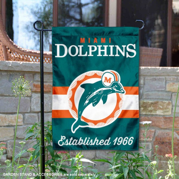 Miami Dolphins Throwback Logo Double Sided Garden Flag Flag is 12.5x18 inches in size, is made of 2-ply polyester, and has two sided screen printed logos and lettering. Available with Express Next Day Ship, our Miami Dolphins Throwback Logo Double Sided Garden Flag Flag is NFL Officially Licensed and is double sided.