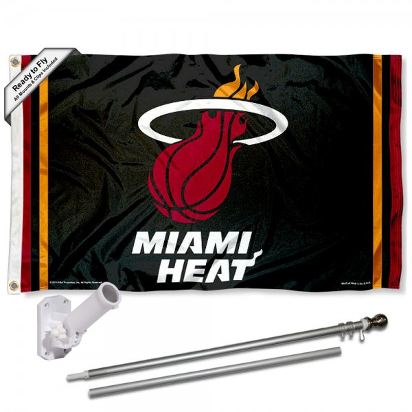 Our Miami Heat Flag Pole and Bracket Kit includes the flag as shown and the recommended flagpole and flag bracket. The flag is made of polyester, has quad-stitched flyends, and the NBA Licensed team logos are double sided screen printed. The flagpole and bracket are made of rust proof aluminum and includes all hardware so this kit is ready to install and fly.