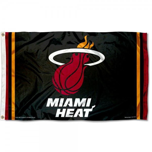 The Miami Heat Flag Team Flag is four-stitched bordered, double sided, made of poly, 3'x5', and has two grommets. These Miami Heat Flag Team Flags are NBA Genuine Merchandise.