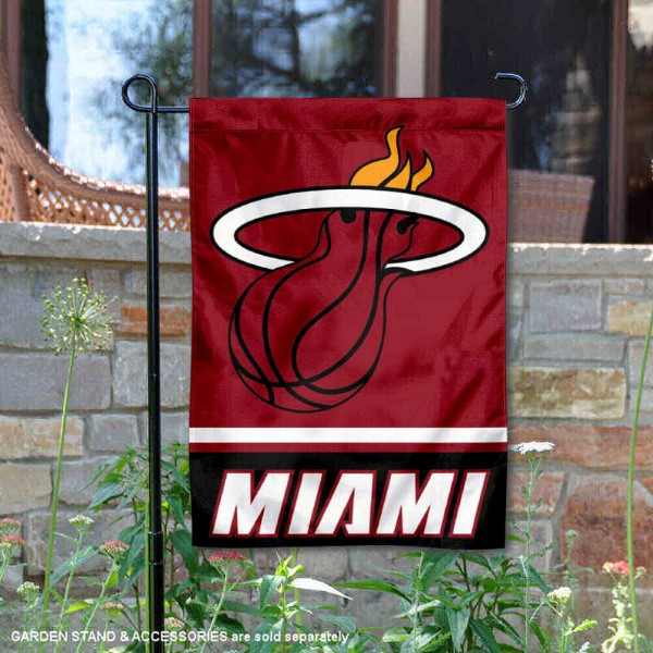 Miami Heat Garden Flag is 12.5x18 inches in size, is made of 2-ply polyester, and has two sided screen printed logos and lettering. Available with Express Next Day Shipping, our Miami Heat Garden Flag is NBA Genuine Merchandise and is double sided.