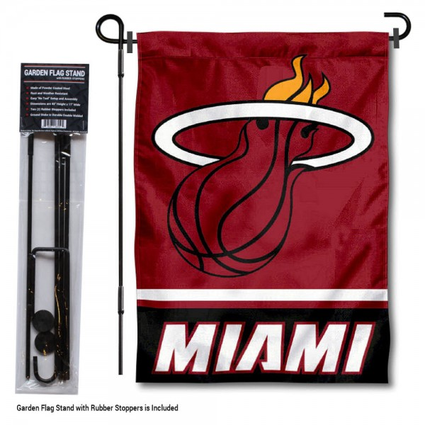 "Miami Heat Garden Flag and Flagpole Stand kit includes our 12.5""x18"" garden banner which is made of 2 ply poly with liner and has screen printed licensed logos. Also, a 40""x17"" inch garden flag stand is included so your Miami Heat Garden Flag and Flagpole Stand is ready to be displayed with no tools needed for setup. Fast Overnight Shipping is offered and the flag is Officially Licensed and Approved by the selected team."