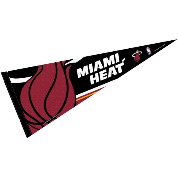 This Miami Heat Pennant measures 12x30 inches, is constructed of felt, and is single sided screen printed with the Miami Heat logo and insignia. Each Miami Heat Pennant is a NBA Officially Licensed product.