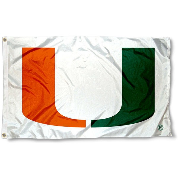 Miami Hurricanes 3x5 Flag is made of 100% polyester, offers double stitched flyends, measures 3x5 feet, has two metal grommets, and is viewable from both side with the opposite side being a reverse image. Our Miami Hurricanes 3x5 Flag is officially licensed by the selected college and NCAA