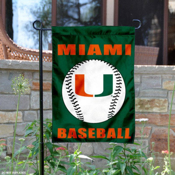 Miami Hurricanes Baseball Team Garden Flag is 13x18 inches in size, is made of 2-layer polyester, screen printed University of Miami Baseball athletic logos and lettering. Available with Express Shipping, Our Miami Hurricanes Baseball Team Garden Flag is officially licensed and approved by University of Miami Baseball and the NCAA.