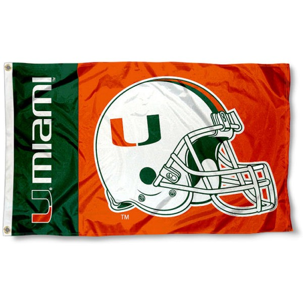 Miami Hurricanes College Football Flag measures 3x5 feet, is made of 100% polyester, offers a double stitched perimeter, has two metal grommets, and offers screen printed NCAA team logos and insignias. Our Miami Hurricanes College Football Flag is officially licensed by the selected university and NCAA