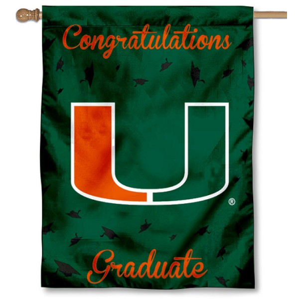 Miami Hurricanes Congratulations Graduate Flag measures 30x40 inches, is made of poly, has a top hanging sleeve, and offers dye sublimated Miami Hurricanes logos. This Decorative Miami Hurricanes Congratulations Graduate House Flag is officially licensed by the NCAA.