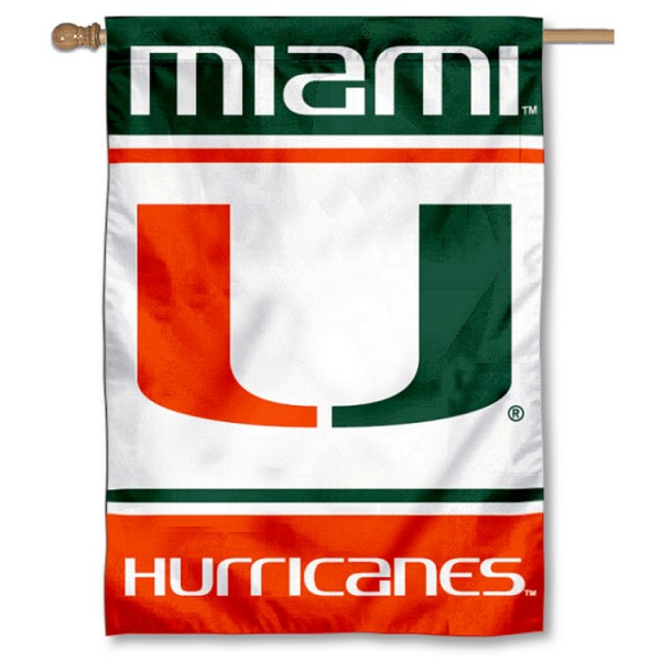 Miami Hurricanes Double Sided Banner is a vertical house flag which measures 28x40 inches, is made of 2 ply 100% nylon, offers screen printed NCAA team insignias, and has a top pole sleeve to hang vertically. Our Miami Hurricanes Double Sided Banner is officially licensed by the selected university and the NCAA.
