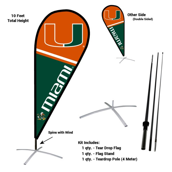 Miami Hurricanes Feather Flag Kit measures a tall 10' when fully assembled. The kit includes a Feather Flag, 3 Piece Fiberglass Pole, and matching Metal Feather Flag Stand. Our Miami Hurricanes Feather Flag Kit easily assembles and is NCAA Officially Licensed by the selected school or university.