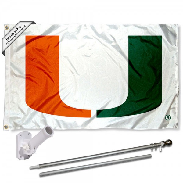Our Miami Hurricanes Flag Pole and Bracket Kit includes the flag as shown and the recommended flagpole and flag bracket. The flag is made of polyester, has quad-stitched flyends, and the NCAA Licensed team logos are double sided screen printed. The flagpole and bracket are made of rust proof aluminum and includes all hardware so this kit is ready to install and fly.