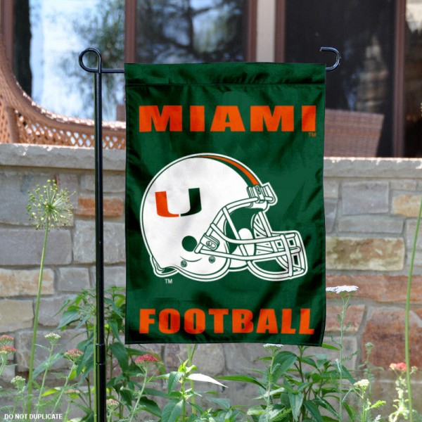 Miami Hurricanes Football Helmet Garden Banner is 13x18 inches in size, is made of 2-layer polyester, screen printed University of Miami athletic logos and lettering. Available with Same Day Express Shipping, Our Miami Hurricanes Football Helmet Garden Banner is officially licensed and approved by University of Miami and the NCAA.