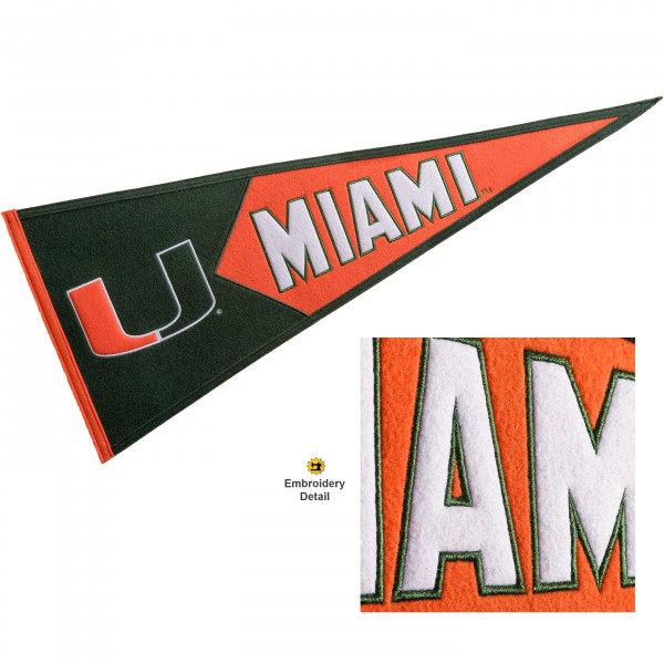 Miami Hurricanes Genuine Wool Pennant consists of our full size 13x32 inch Winning Streak Sports wool college pennant. The logos, lettering and insignia is quality embroidered and appliqued, feature a alternate logo color header, and has sewn wool perimeter. This Miami Hurricanes College Pennant Pennant is Officially Licensed and University Approved with Overnight Next Day Shipping.
