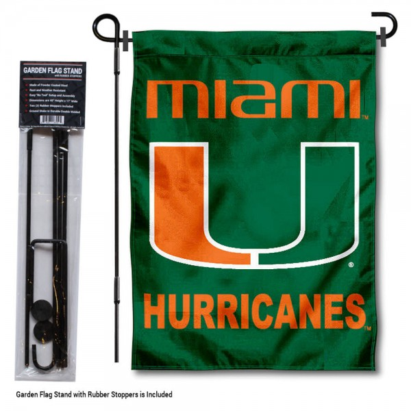 """Miami Hurricanes Green Garden Flag and Pole Stand kit includes our 13""""x18"""" garden banner which is made of 2 ply poly with liner and has screen printed licensed logos. Also, a 40""""x17"""" inch garden flag stand is included so your Miami Hurricanes Green Garden Flag and Pole Stand is ready to be displayed with no tools needed for setup. Fast Overnight Shipping is offered and the flag is Officially Licensed and Approved by the selected team."""
