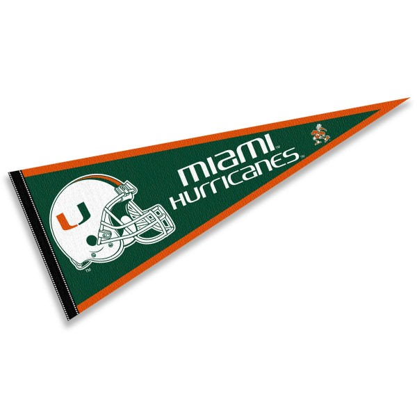 Miami Hurricanes Helmet Pennant consists of our full size sports pennant which measures 12x30 inches, is constructed of felt, is single sided imprinted, and offers a pennant sleeve for insertion of a pennant stick, if desired. This Miami Hurricanes Pennant Decorations is Officially Licensed by the selected university and the NCAA.