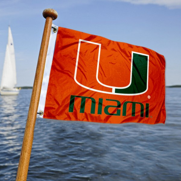 Miami Hurricanes Nautical Flag measures 12x18 inches, is made of two-ply polyesters, offers quadruple stitched flyends for durability, has two metal grommets, and is viewable from both sides. Our Miami Hurricanes Nautical Flag is officially licensed by the selected university and the NCAA and can be used as a motorcycle flag, golf cart flag, or ATV flag