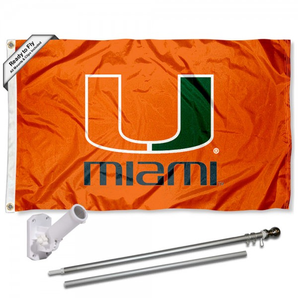 Our Miami Hurricanes Orange Flag Pole and Bracket Kit includes the flag as shown and the recommended flagpole and flag bracket. The flag is made of polyester, has quad-stitched flyends, and the NCAA Licensed team logos are double sided screen printed. The flagpole and bracket are made of rust proof aluminum and includes all hardware so this kit is ready to install and fly.