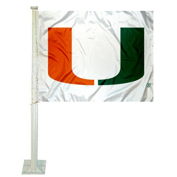 Miami Hurricanes White U Car Flag measures 12x15 inches, is constructed of sturdy 2 ply polyester, and has screen printed school logos which are readable and viewable correctly on both sides. Miami Hurricanes White U Car Flag is officially licensed by the NCAA and selected university.