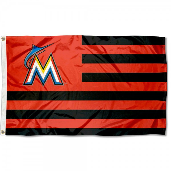 Miami Marlins Americana Nation Flag measures 3x5 feet, is made of polyester, offers quad-stitched flyends, has two metal grommets, and is viewable from both sides with a reverse image on the opposite side. Our Miami Marlins Americana Nation Flag is Genuine MLB Merchandise.