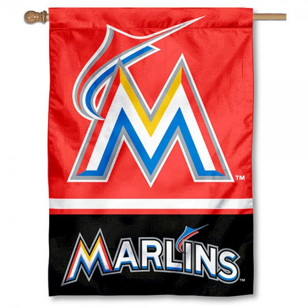 Miami Marlins Double Sided House Flag is screen printed with Miami Marlins logos, is made of 2-ply 100% polyester, and is two sided and double sided. Our banners measure 28x40 inches and hang vertically with a top pole sleeve to insert your banner pole or flagpole.