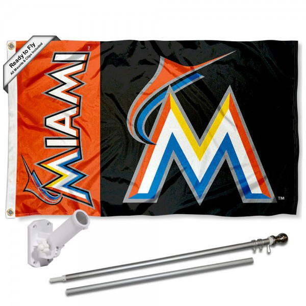Our Miami Marlins Flag Pole and Bracket Kit includes the flag as shown and the recommended flagpole and flag bracket. The flag is made of polyester, has quad-stitched flyends, and the MLB Licensed team logos are double sided screen printed. The flagpole and bracket are made of rust proof aluminum and includes all hardware so this kit is ready to install and fly.