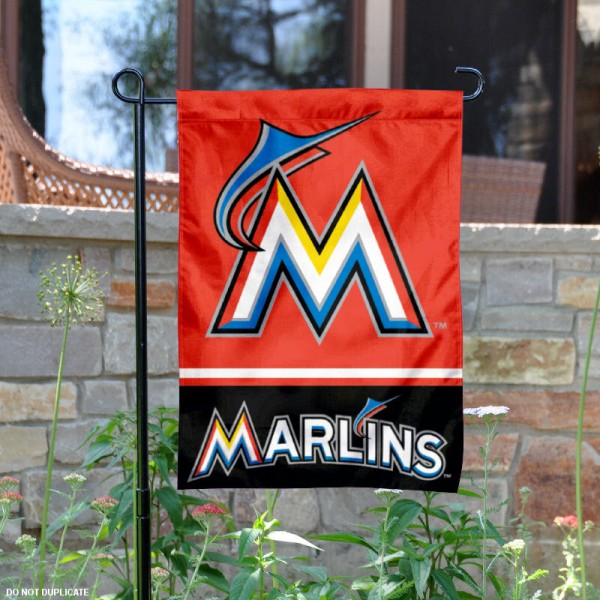Miami Marlins Garden Flag is 12.5x18 inches in size, is made of 2-ply polyester, and has two sided screen printed logos and lettering. Available with Express Next Day Shipping, our Miami Marlins Garden Flag is MLB Genuine Merchandise and is double sided.