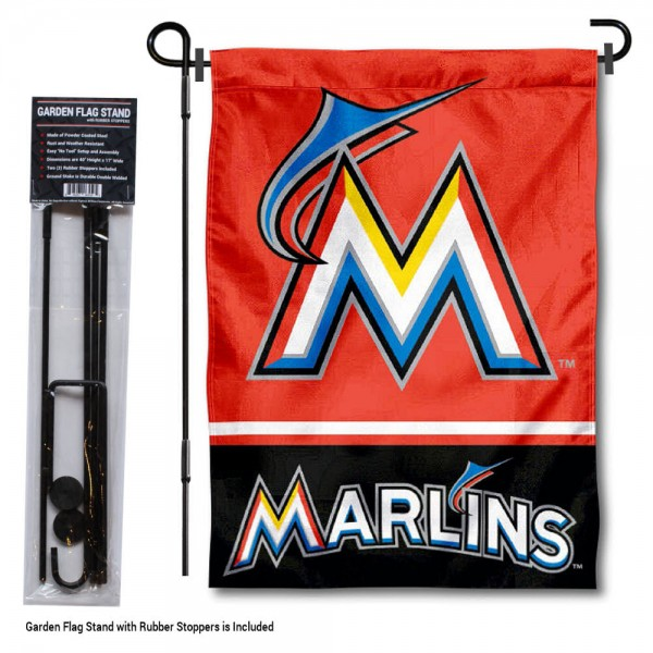 """Miami Marlins Logo Garden Flag and Stand kit includes our 13""""x18"""" garden banner which is made of 2 ply poly with liner and has screen printed licensed logos. Also, a 40""""x17"""" inch garden flag stand is included so your Miami Marlins Logo Garden Flag and Stand is ready to be displayed with no tools needed for setup. Fast Overnight Shipping is offered and the flag is Officially Licensed and Approved by the selected team."""