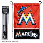 Miami Marlins Logo Garden Flag and Stand