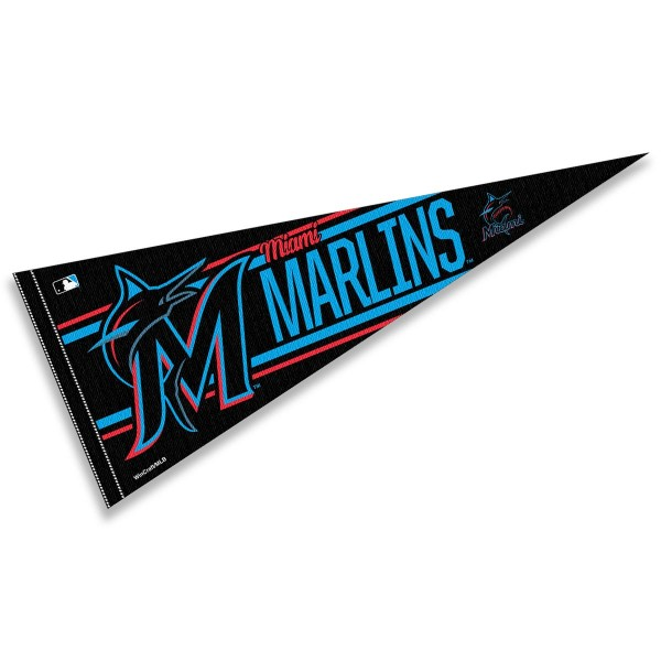 This Miami Marlins Pennant measures 12x30 inches, is constructed of felt, and is single sided screen printed with the Miami Marlins logo and insignia. Each Miami Marlins Pennant is a MLB Genuine Merchandise product.