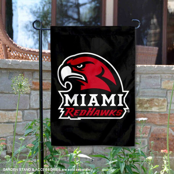 Miami Redhawks Black Garden Flag is 13x18 inches in size, is made of 2-layer polyester, screen printed university athletic logos and lettering, and is readable and viewable correctly on both sides. Available same day shipping, our Miami Redhawks Black Garden Flag is officially licensed and approved by the university and the NCAA.