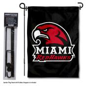 Miami Redhawks Black Garden Flag and Pole Stand Mount