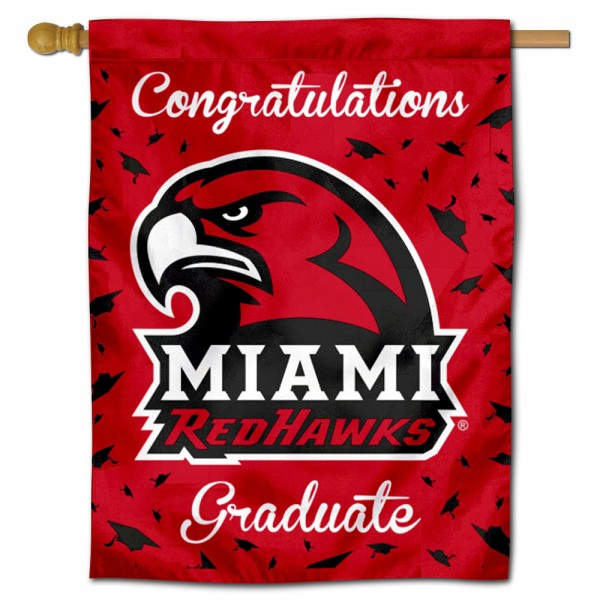 Miami Redhawks Congratulations Graduate Flag measures 30x40 inches, is made of poly, has a top hanging sleeve, and offers dye sublimated Miami Redhawks logos. This Decorative Miami Redhawks Congratulations Graduate House Flag is officially licensed by the NCAA.