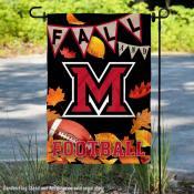 Miami Redhawks Fall Football Autumn Leaves Decorative Garden Flag