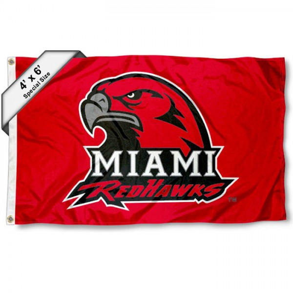 Miami Redhawks Large 4x6 Flag measures 4x6 feet, is made thick woven polyester, has quadruple stitched flyends, two metal grommets, and offers screen printed NCAA Miami Redhawks Large athletic logos and insignias. Our Miami Redhawks Large 4x6 Flag is officially licensed by Miami Redhawks and the NCAA.
